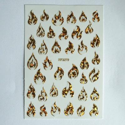 Наклейки для дизайна ногтей, Пламя 2, голография золото, 1-3279G