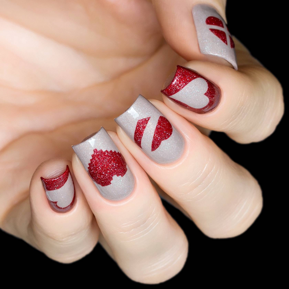 Трафарет для дизайна ногтей Сердца