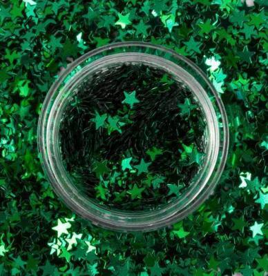 Блестки для дизайна ногтей Звёзды Зелёной Галактики, 2 гр, 980-02