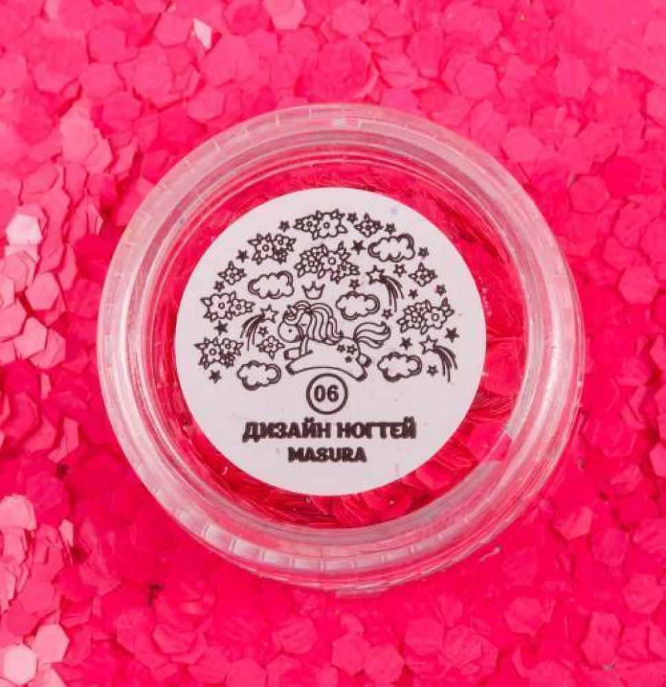 Блестки для дизайна ногтей Розовые Соты, 2 гр