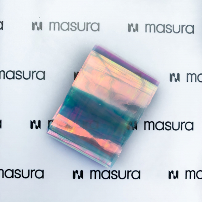 Прозрачная фольга для объемного дизайна, голубой-розовый, 980-100