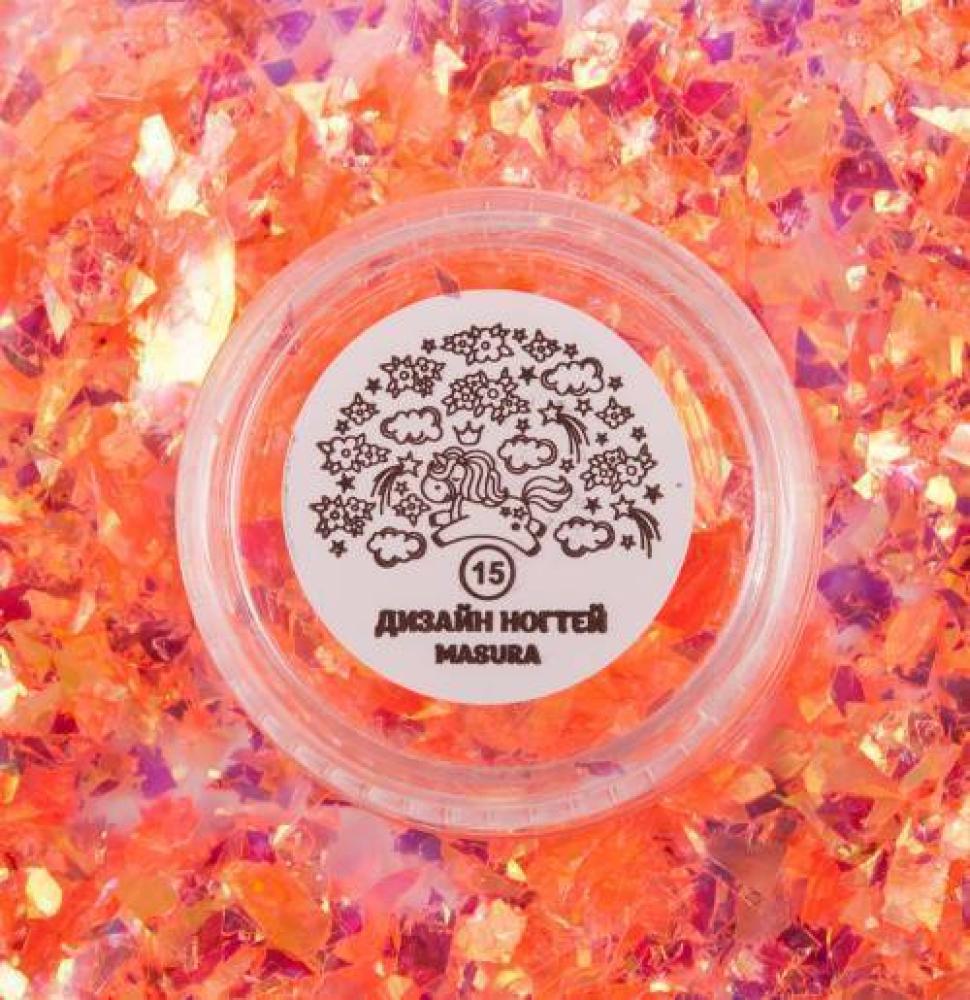 Блестки для дизайна ногтей Коралловая Слюда, 2 гр