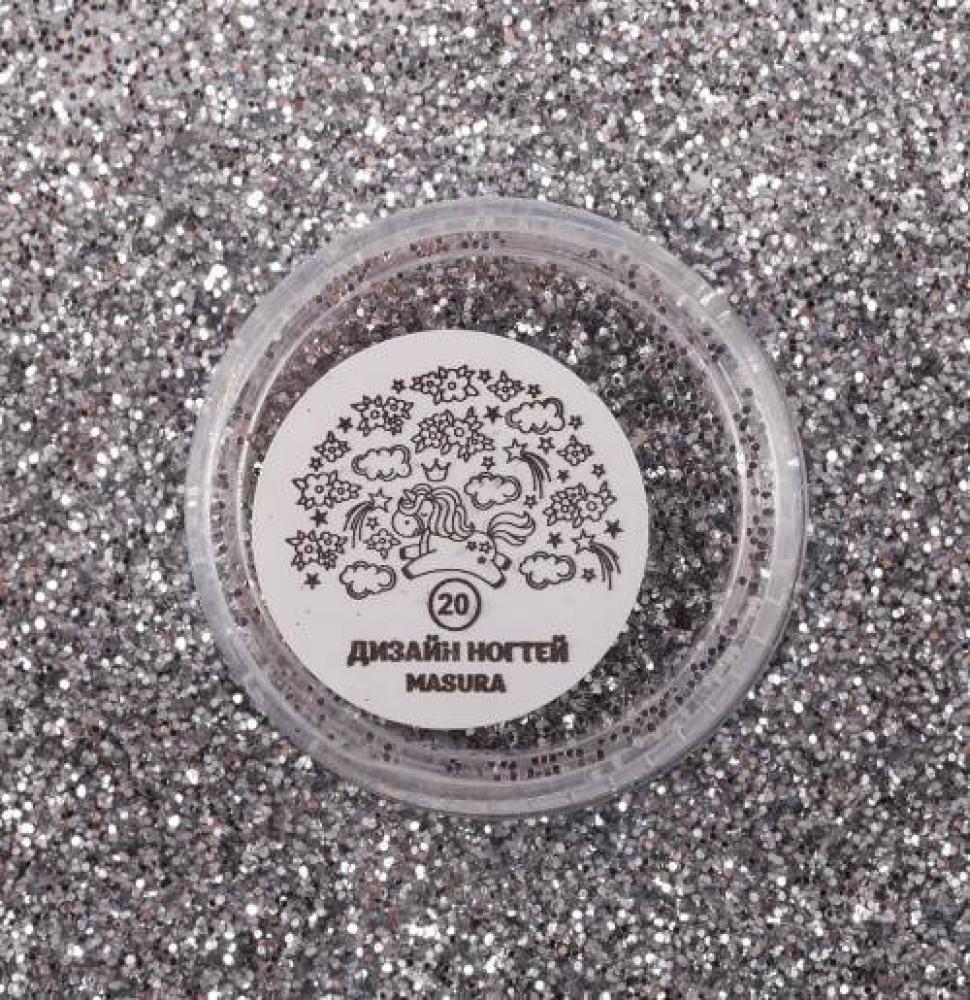 Блестки для дизайна ногтей Французское Серебро, 2 гр