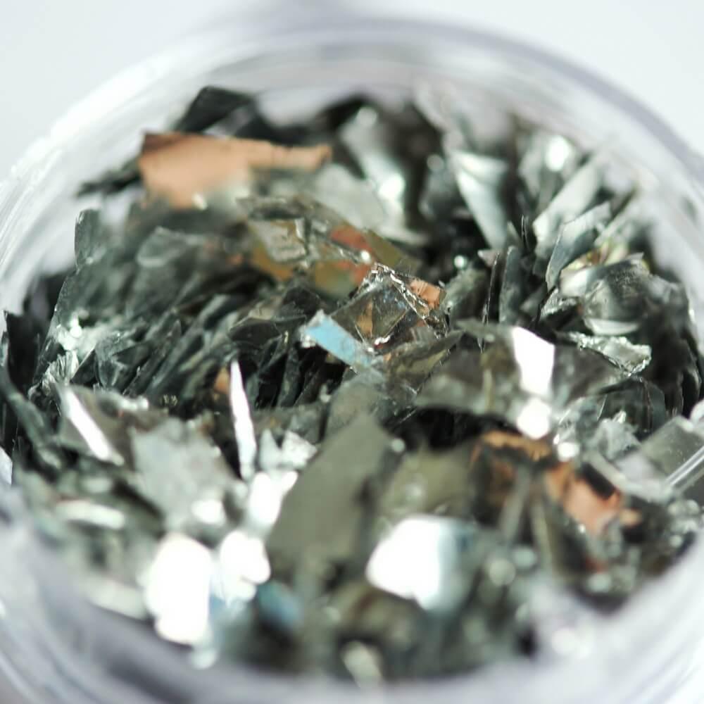 Тонкие осколки фольги для дизайна, серебро, 2 гр