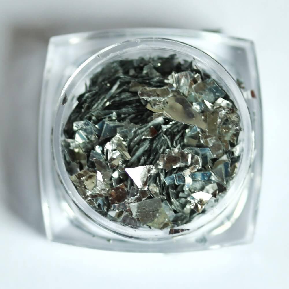 Тонкие осколки фольги для дизайна, серебро, 2 гр - превью