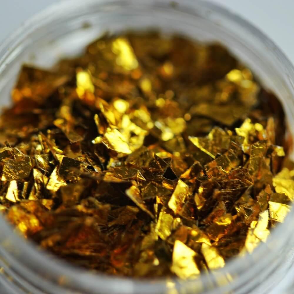 Тонкие осколки фольги для дизайна, желтое золото, 2 гр