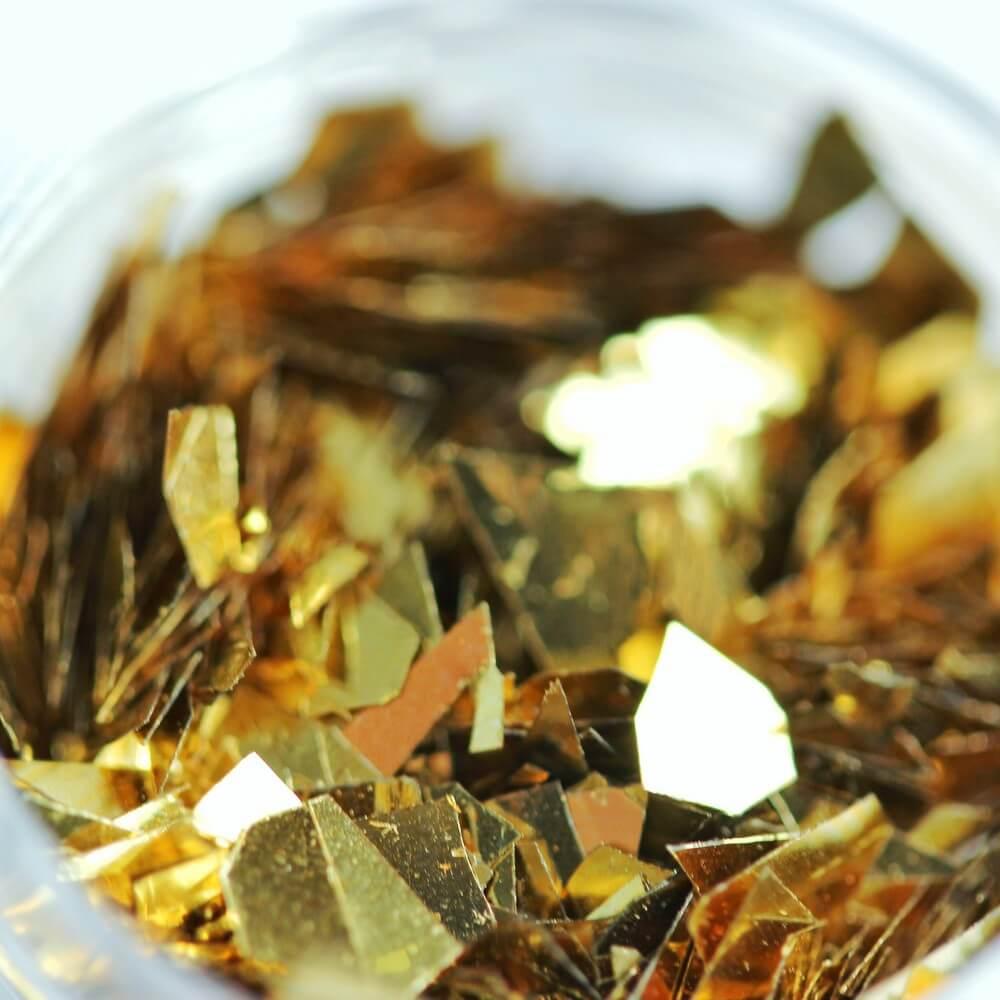 """Тонкие """"осколки"""" фольги для дизайна, красное золото, 2 гр"""