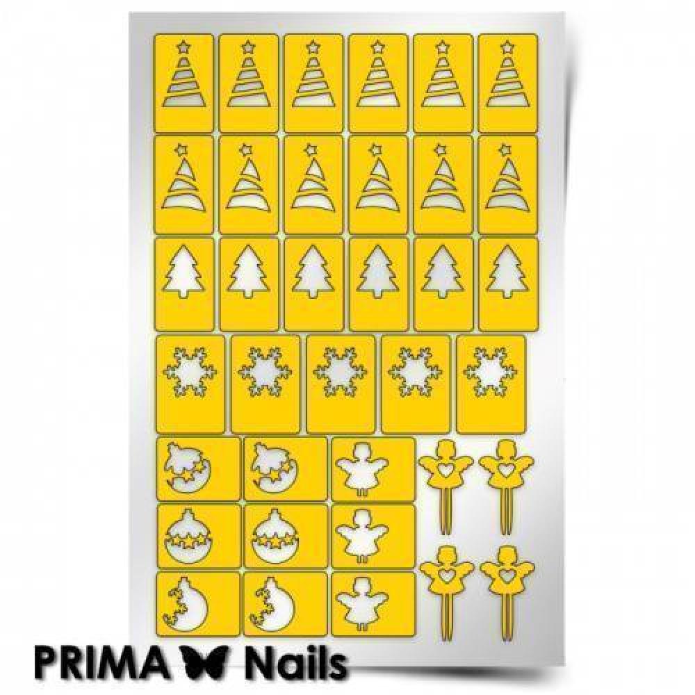 Трафарет для дизайна ногтей PrimaNails. Новый год