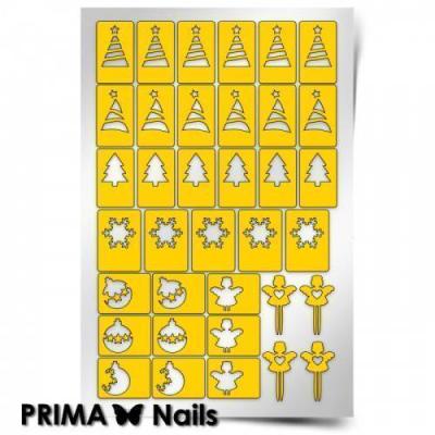Трафарет для дизайна ногтей PrimaNails. Новый год, TPN36